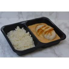 Menuschotel Kipfilet jägerart met rijst