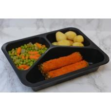 Menuschotel Boomstammetjes met erwten & wortelen en aardappelen