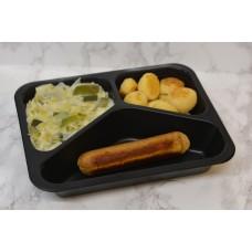 Menuschotel vegetarische worst met aardappeltjes en prei in bechamelsaus